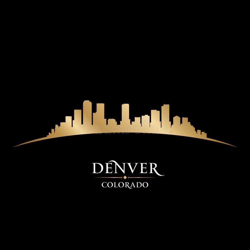 Fundo do preto da silhueta da skyline da cidade de Denver Colorado ilustração do vetor