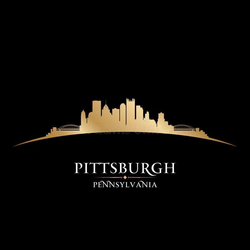 Fundo do preto da silhueta da skyline da cidade de Pittsburgh Pensilvânia ilustração stock
