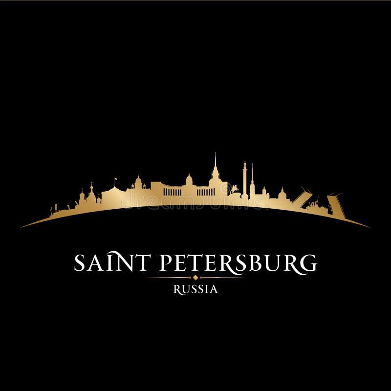 Fundo do preto da silhueta da skyline da cidade de St Petersburg Rússia ilustração do vetor