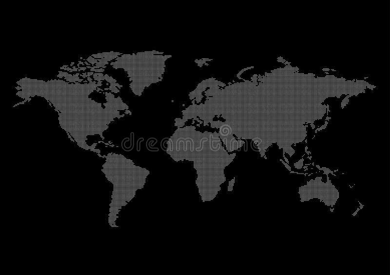 Fundo do preto do mapa de mundo ilustração royalty free