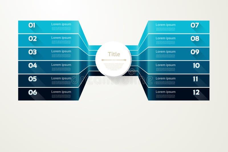 Fundo do progresso do vetor Molde para o diagrama, o gráfico, a apresentação e a carta Conceito do negócio com 12 opções, peças,  ilustração do vetor