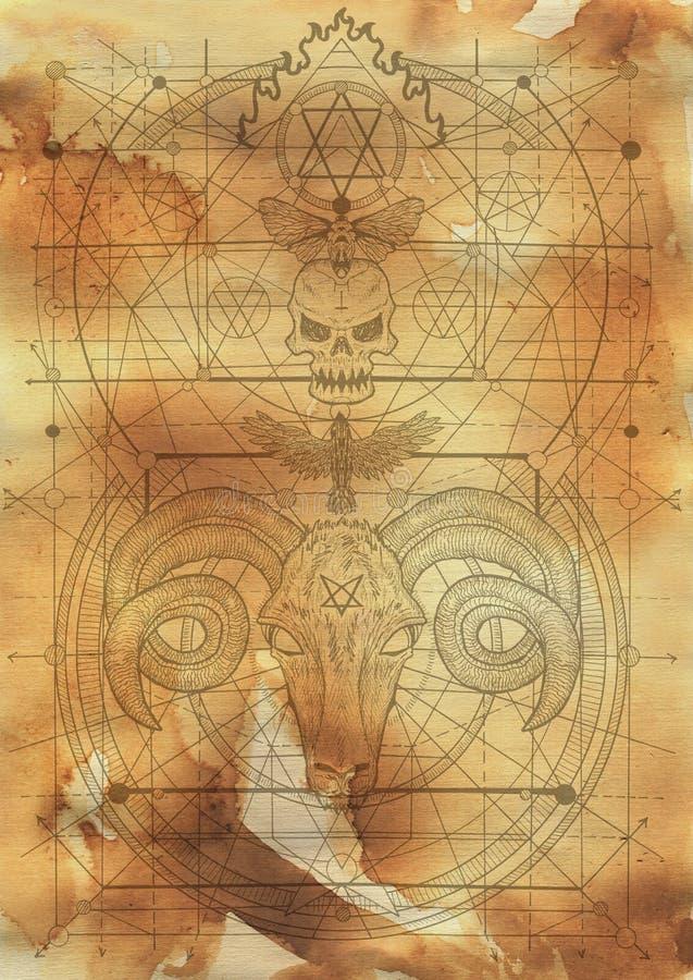 Fundo do projeto do álbum de recortes com diabo e símbolos místicos da morte ilustração do vetor