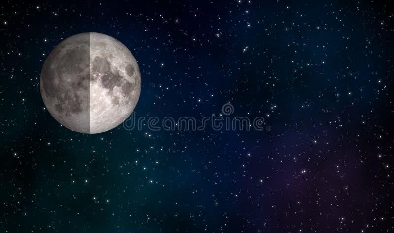 Fundo do projeto da ilustração da lua do primeiro trimestre ilustração do vetor