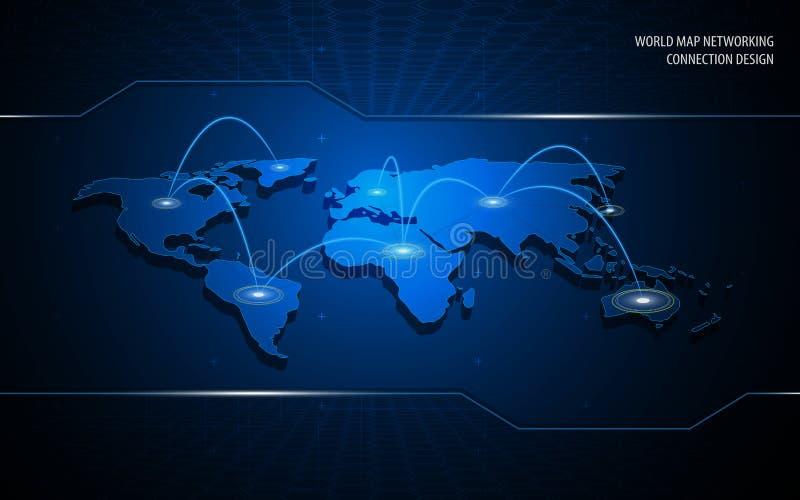 Fundo do projeto de conceito da inovação da tecnologia da conexão dos trabalhos em rede do mapa do mundo ilustração do vetor