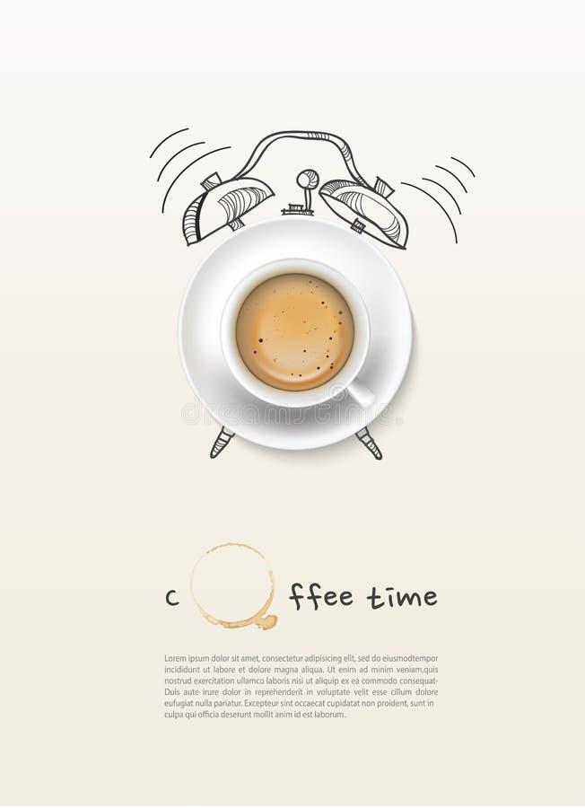 Fundo do projeto de conceito do relógio de ponto do copo de café ilustração do vetor