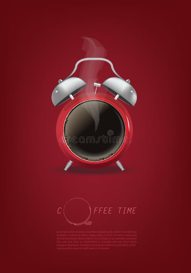 Fundo do projeto de conceito do relógio de ponto do copo de café ilustração royalty free
