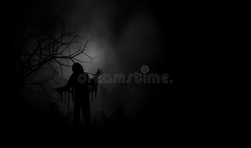 Fundo do projeto de conceito do horror do Dia das Bruxas do pesadelo ilustração stock