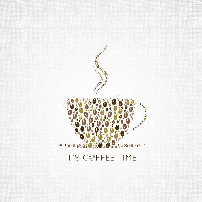 Fundo do projeto dos feijões do copo de café ilustração do vetor