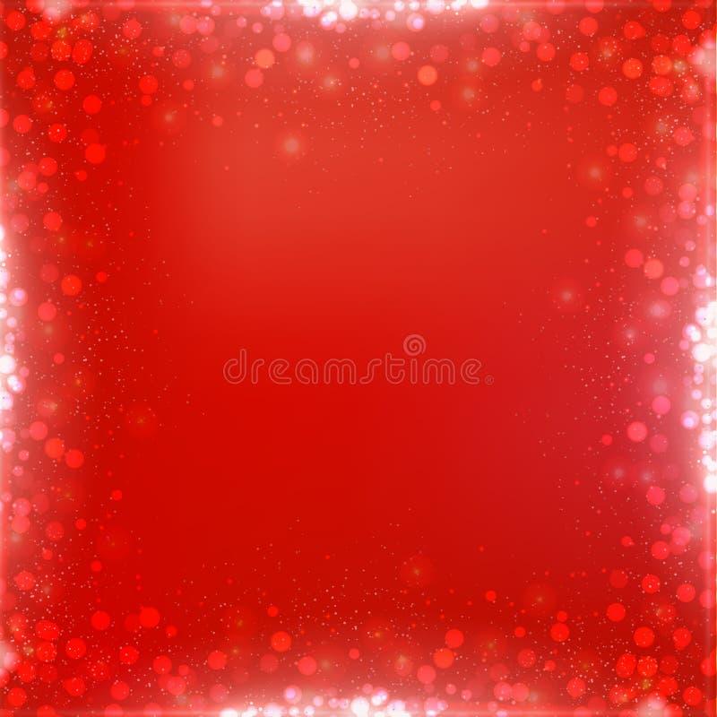Fundo do quadrado vermelho do Natal do inclinação com beira do bokeh ilustração royalty free