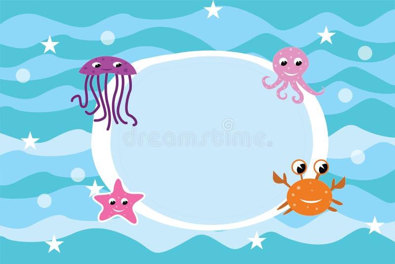 Fundo do quadro da vida marinha dos desenhos animados ilustração stock