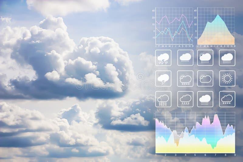 Fundo do relatório da apresentação da previsão de tempo com nuvens bonitas fotografia de stock