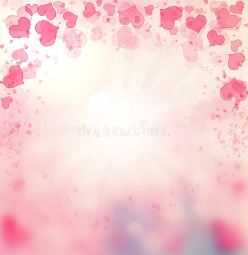 Fundo do rosa do sumário dos corações do Valentim