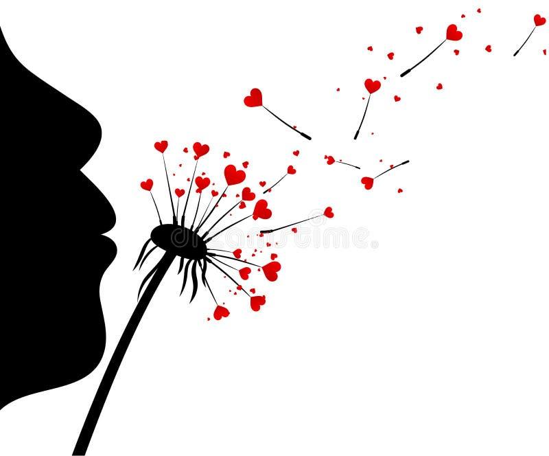 Fundo do ` s do Valentim com dentes-de-leão do amor ilustração royalty free