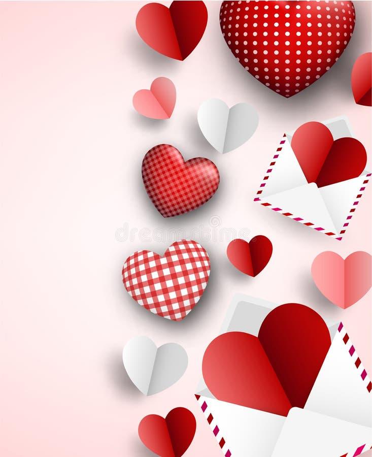 Fundo do ` s do Valentim com letras e corações ilustração royalty free