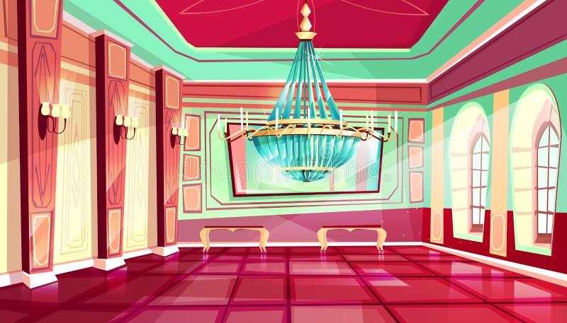 Fundo do salão de baile do palácio do castelo dos desenhos animados do vetor ilustração royalty free