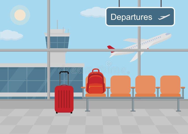 Fundo do salão no aeroporto Sala de espera com cadeiras, painel de informação e bagagem ilustração royalty free