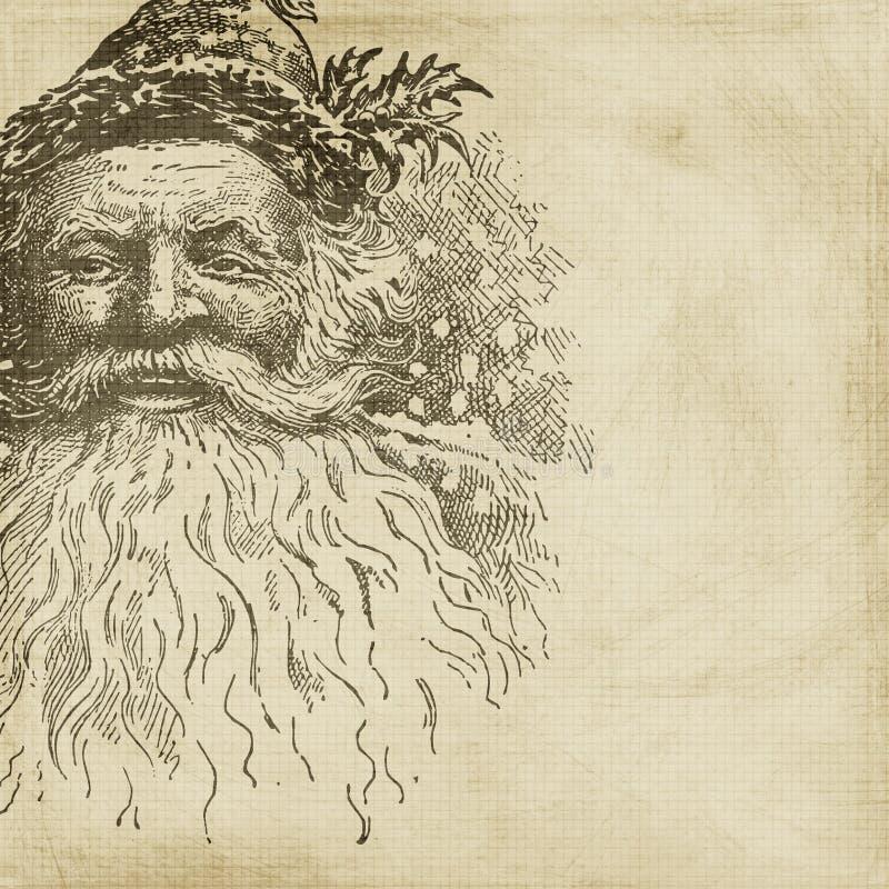Fundo do Scrapbook do Natal de Santa do estilo do vintage ilustração stock