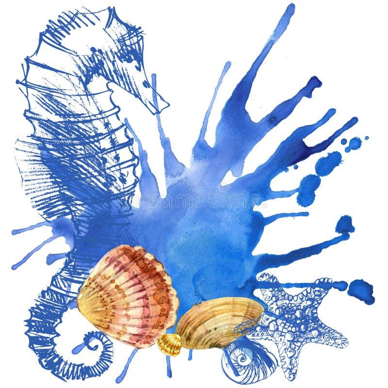 Fundo do Seashell ilustração stock