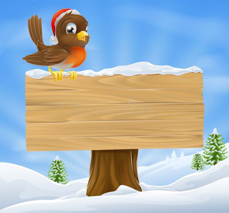 Fundo do sinal do pisco de peito vermelho do Natal ilustração do vetor