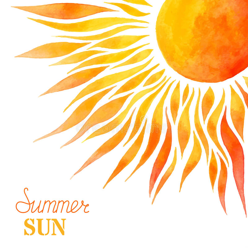 Fundo do sol do verão da aquarela fotografia de stock royalty free