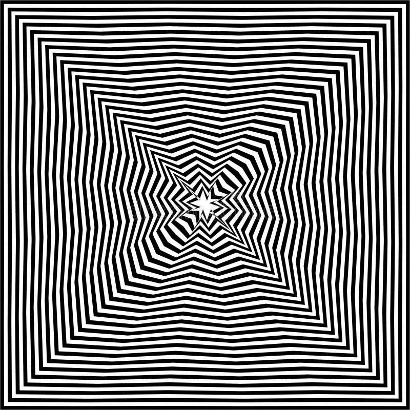 Fundo do sumário da arte da ilusão ótica Teste padrão quadrado hipnótico geométrico monocromático preto e branco ilustração royalty free