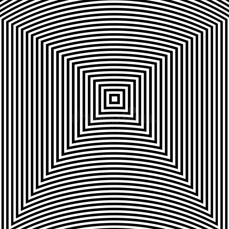 Fundo do sumário da arte da ilusão ótica Teste padrão quadrado hipnótico geométrico monocromático preto e branco ilustração stock