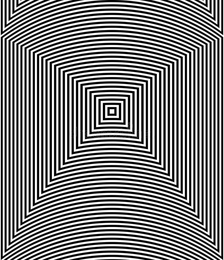 Fundo do sumário da arte da ilusão ótica Teste padrão quadrado hipnótico geométrico monocromático preto e branco ilustração do vetor