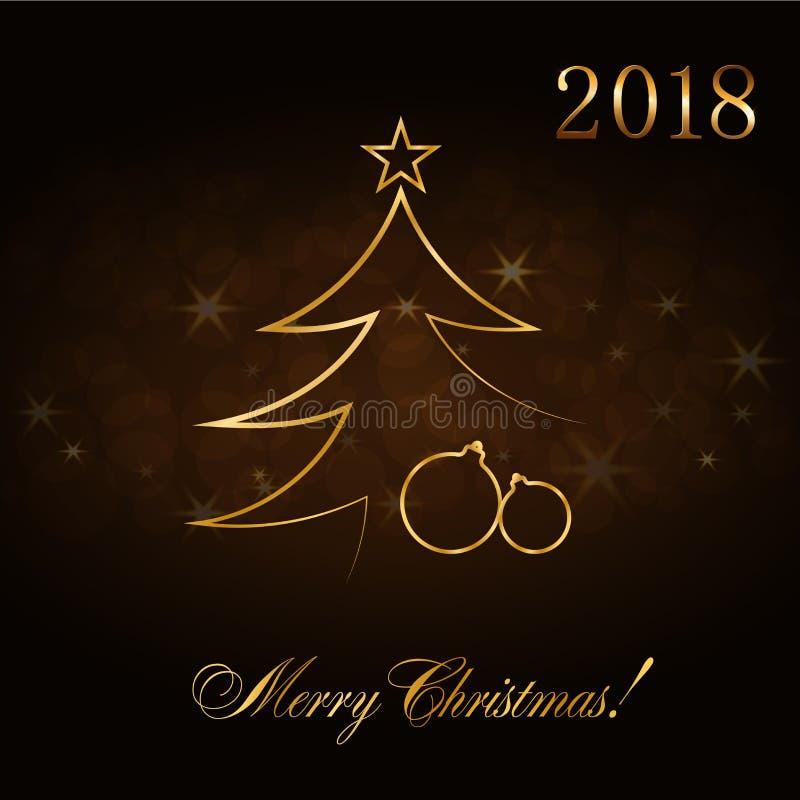 Fundo do sumário da celebração do Feliz Natal, bolas do Xmas do ouro Quinquilharia dourada decorativa, estrela Esboço simples par ilustração do vetor