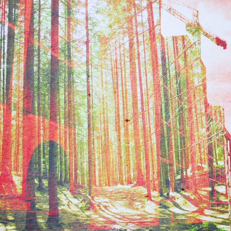 Fundo do sumário da ecologia da fantasia Paisagem urbana misturada com o natural na textura de papel imagens de stock