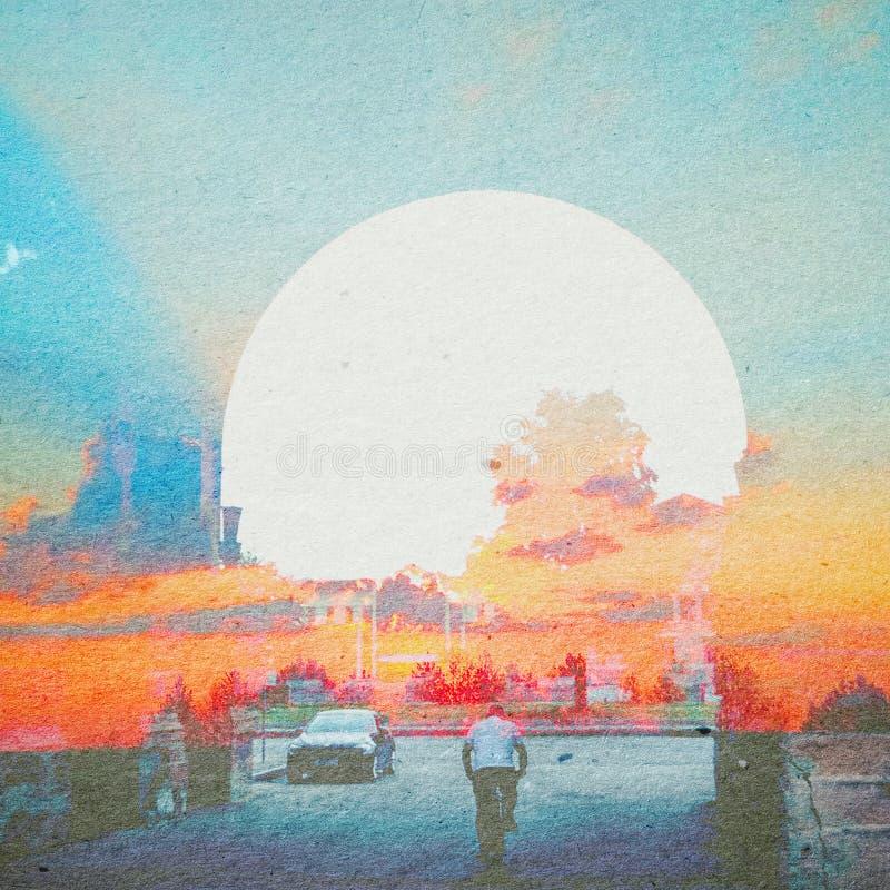 Fundo do sumário da ecologia da fantasia Paisagem urbana misturada com o natural na textura de papel ilustração royalty free