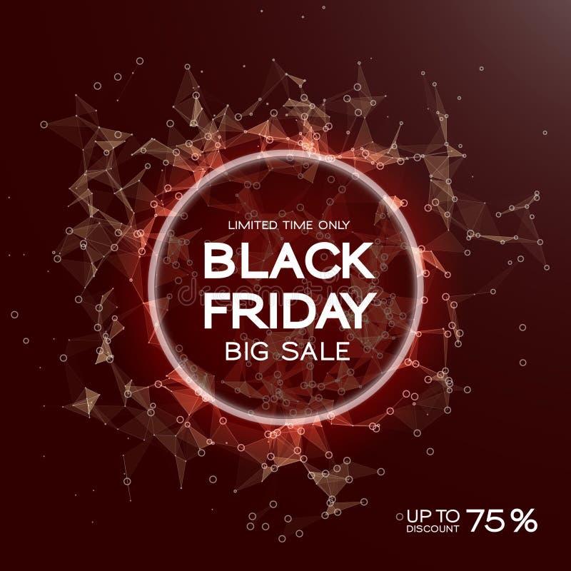 Fundo do sumário da venda de Black Friday Estilo futurista da tecnologia Dados grandes Projeto com plexo ilustração do vetor