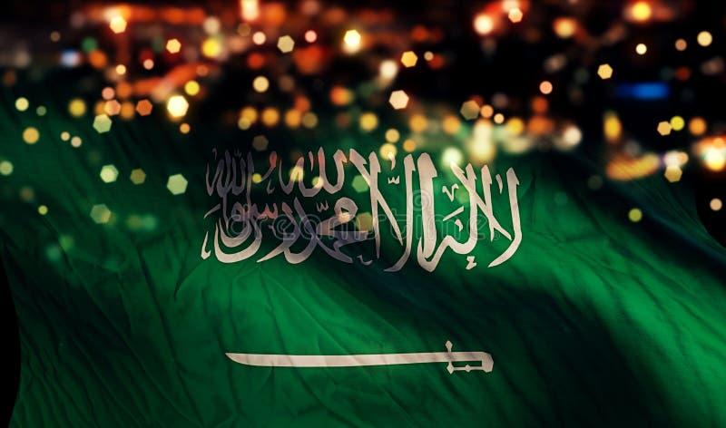 Fundo do sumário de Bokeh da noite da luz da bandeira nacional de Arábia Saudita fotografia de stock royalty free