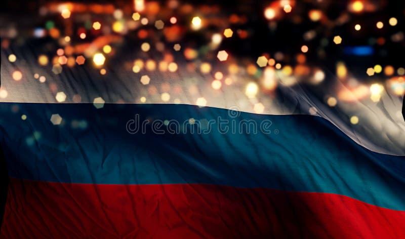 Fundo do sumário de Bokeh da noite da luz da bandeira nacional de Rússia fotografia de stock royalty free