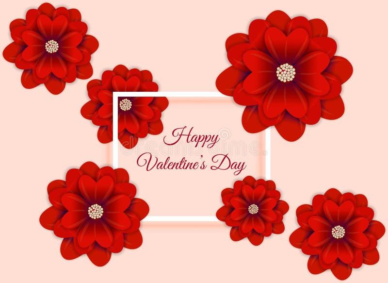 Fundo do sumário do dia de Valentim com arte do papel da flor Ilustração do vetor ilustração stock