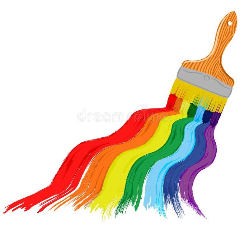 Fundo do sumário do arco-íris da arte com escova ilustração royalty free