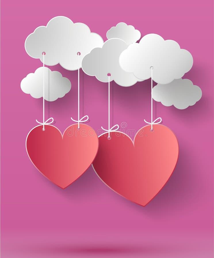 Fundo do sumário do dia de Valentim com coração de papel cortado ilustração do vetor