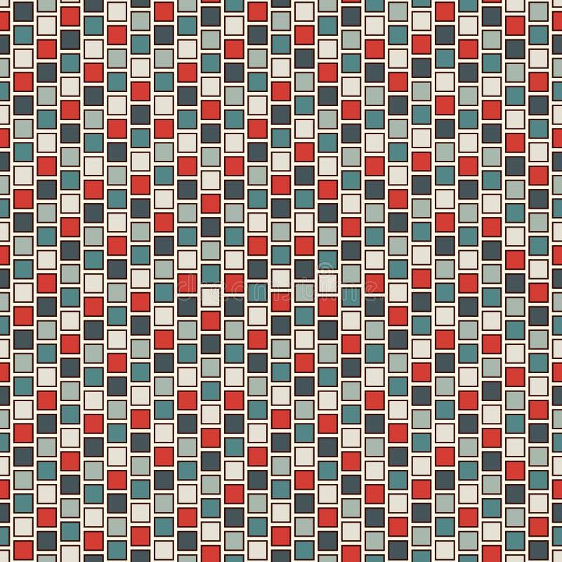 Fundo do sumário do mosaico do vitral Papel de parede brilhante repetido dos quadrados Teste padrão sem emenda com ornamento geom ilustração do vetor