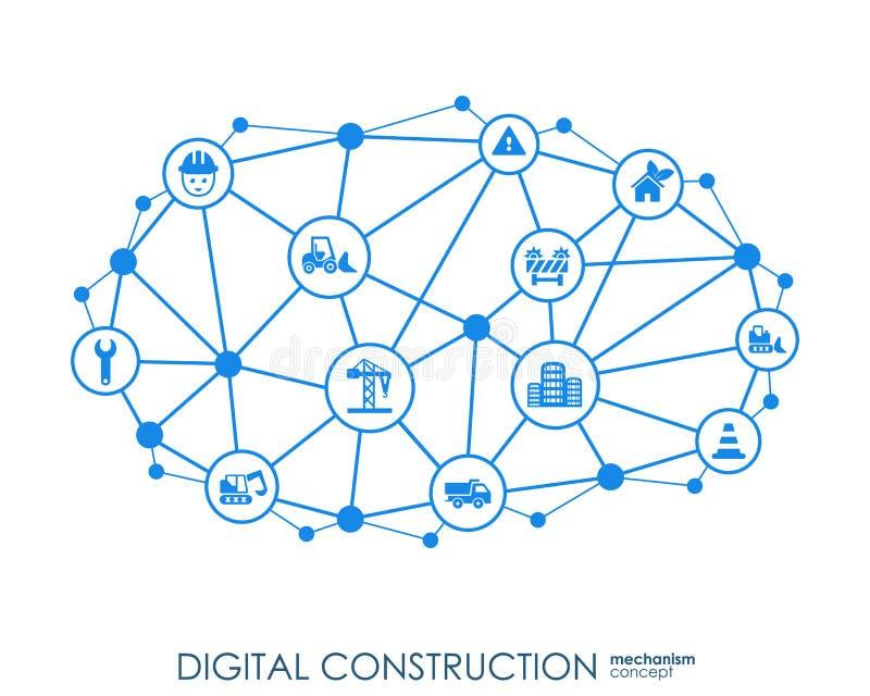 Fundo do sumário do hexágono da construção de Digitas com linhas, polígono, e ícones lisos integrados Símbolos conectados para ilustração do vetor
