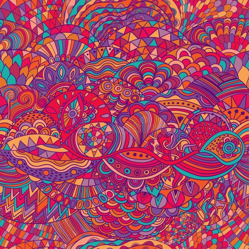 Fundo do sumário do teste padrão do vetor com ornamento colorido Ilustração da tração da mão, zentangle do livro para colorir Mar ilustração do vetor