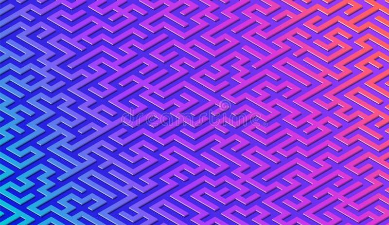 Fundo do sum?rio do teste padr?o do labirinto com o labirinto vibrante para o cartaz ou o papel de parede ilustração royalty free