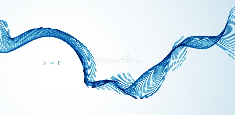 Fundo do sum?rio do vetor com a onda de part?culas de fluxo, linhas lisas da forma da curva, fluxo da disposi??o da part?cula os  ilustração do vetor