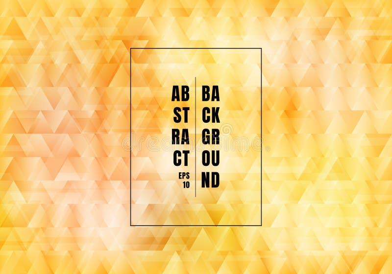 Fundo do teste padr?o amarelo abstrato dos tri?ngulos e estilo de sobreposi??o do luxo da textura Os pol?gono geom?tricos do ouro ilustração stock