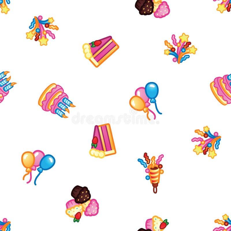 Fundo do teste padrão do aniversário Bolo doce com velas para o partido da celebração, bolo, queques dos confeitos, coloridos ilustração royalty free