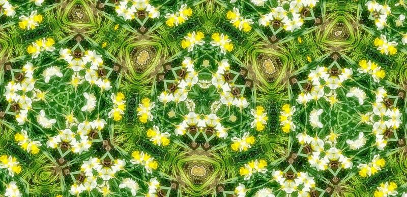 Fundo do teste padrão do caleidoscópio da flora do verde da mola foto de stock royalty free