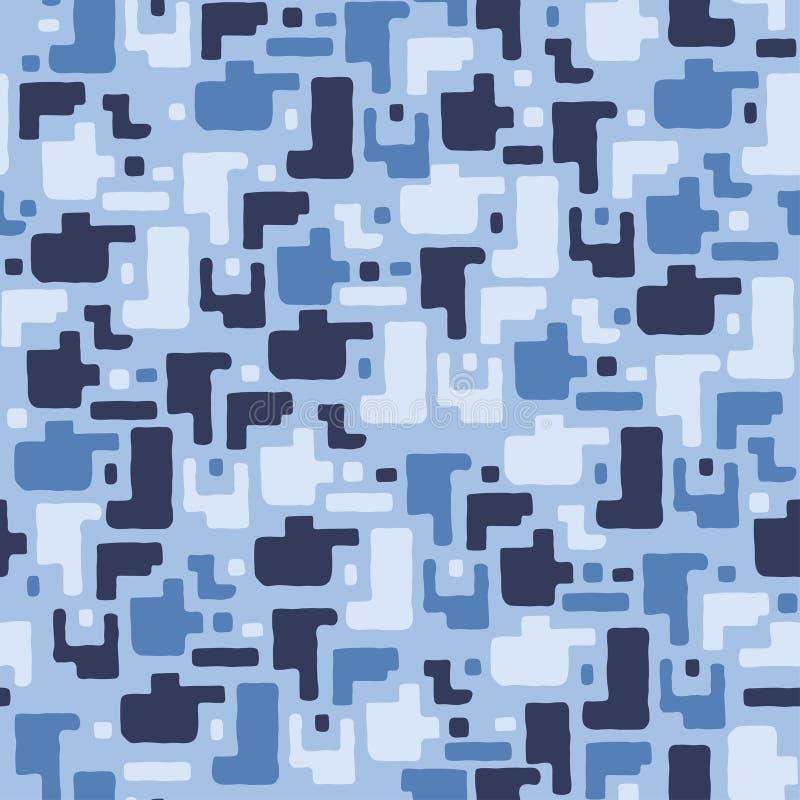 Fundo do teste padrão da camuflagem, ilustração sem emenda do vetor Azul, cores do mar, textura marinha ilustração do vetor