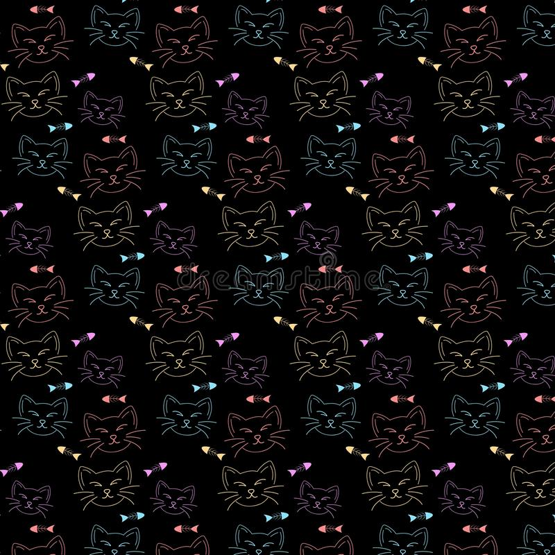 Fundo do teste padrão da cara do gato e do osso de peixes ilustração do vetor