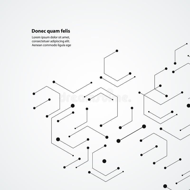 Fundo do teste padrão da estrutura molecular Projeto da tecnologia do vetor ilustração do vetor