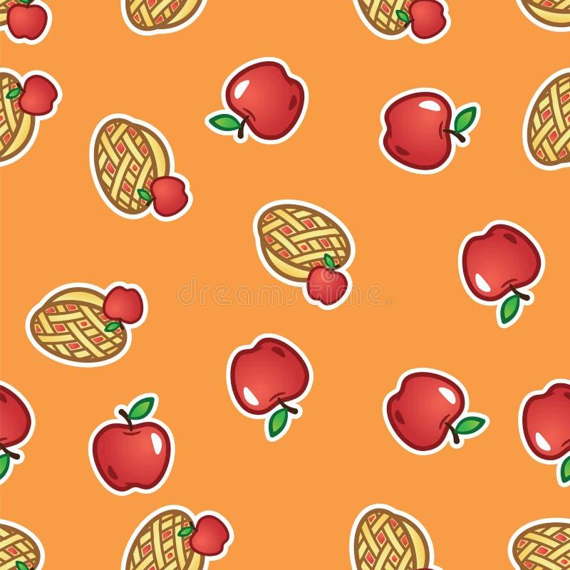 Fundo do teste padrão da torta de Apple Torta cozida doce e saboroso do fruto do teste padrão sem emenda das maçãs vermelhas ilustração stock