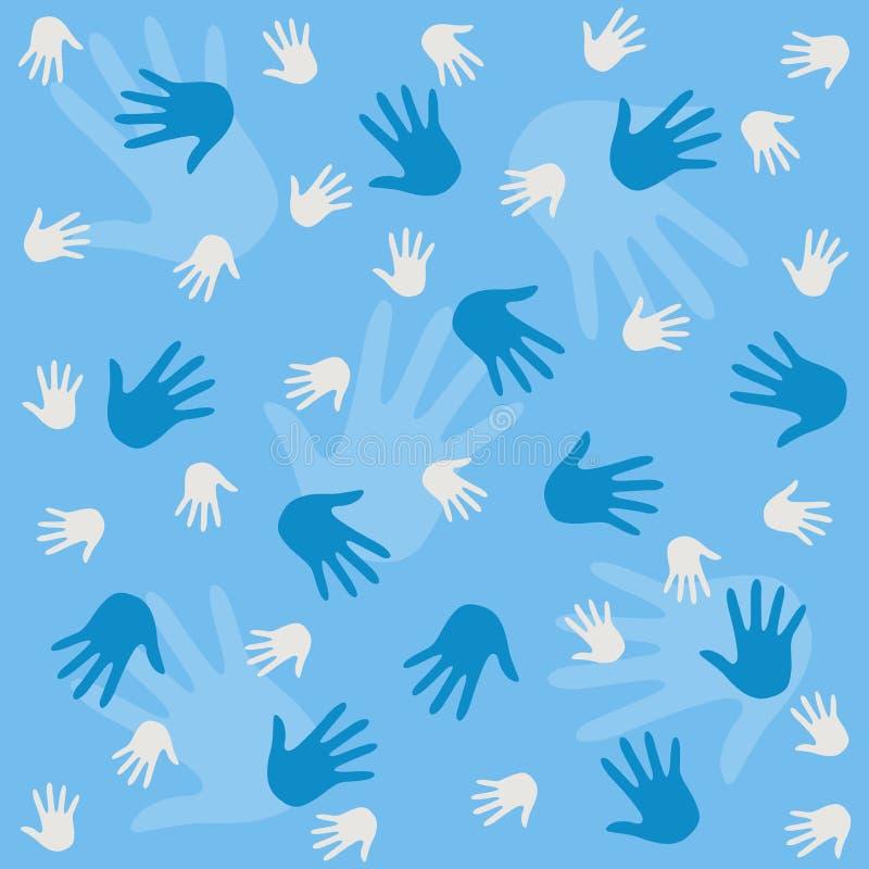 Fundo do teste padrão das mãos ilustração stock