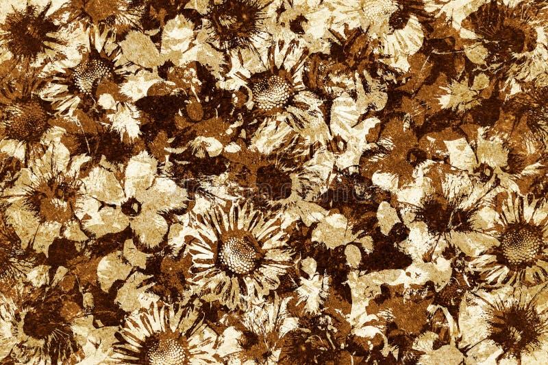 Fundo do teste padrão de flor do marrom do grunge da arte ilustração stock